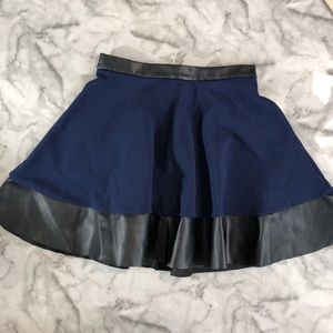 TopShop Blue Circle Skirt with Faux Leather Trim